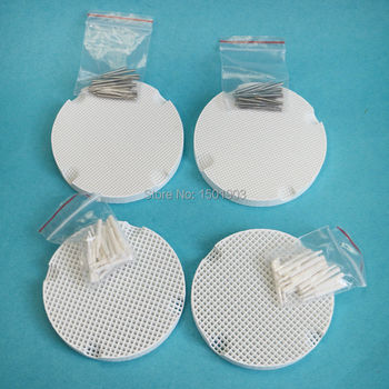 4pcs Dental lab Ceramic Honeycomb Firing tray With 40Pcs Metal dental Pins & 40Pcs ceramic dental Pins Dental material for lab delian dental bonding ultra fast tray adhesive with brush bottle impression material dental silicone product