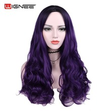 Wignee Middle Part Synthetic Wigs For Women Heat Resistant Long Wavy Wig Natural Black/Purple/Pink/Ash Blonde/Brown Cosplay Wig long middle part wavy colormix synthetic wig