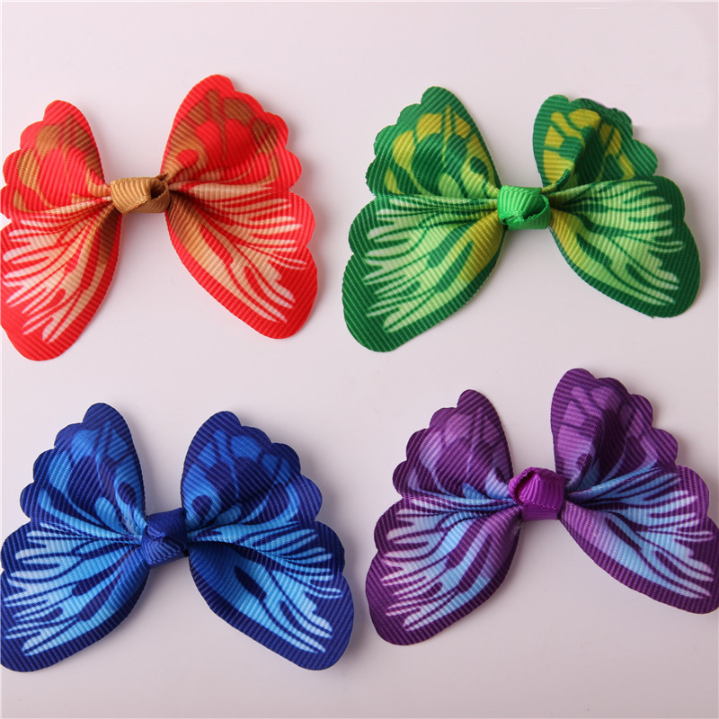 купить 10PCS/LOT Dazzling Colorful Butterfly WITHOUT CLIP Girl Hair Accessory Bow For DIY Headdress Semi-finished Products 2017 недорого