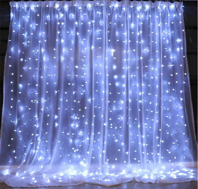 300 LED Window Curtain String Lights 3X3M 8 Mode Remote ...