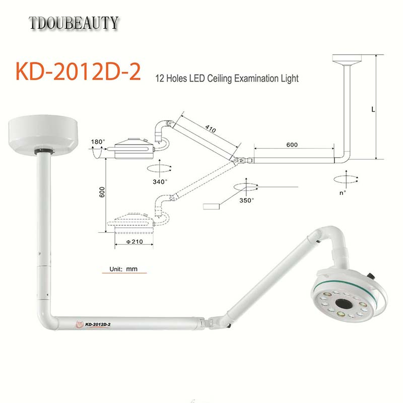 цена на Universal Voltage Upgraded KD-2012D-2 36W Ceiling Mounted LED Surgical Medical Exam Light Shadowless Lamp With 800mm Available