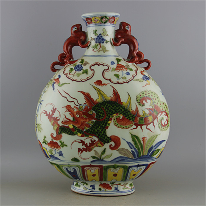 #6 Antique YuanDynasty porcelain vase,Color dragon ears flat bottle,Hand-painted rafts,collectio &adornment,Free shipping