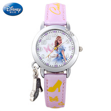 Disney бренда Детей Кварцевые часы 30 м водонепроницаемый Золушка девушка Мультфильм Аниме Кожи на Высоких каблуках украшения
