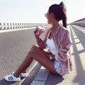 YNZZU 2016 Осень Зима Женская Мода Розовый Бархат Куртки Случайный Стенд Воротник Молния Fly Тонкий Бомбардировщик Куртки Outwears YO142