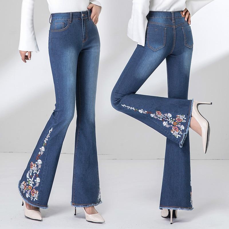 Femmes Pantalon Pantalon Femme Denim black Élastique Flare Blanchis Broderie Stretch Vintage Printemps Jeans Automne Gland Blue qgO8Ew