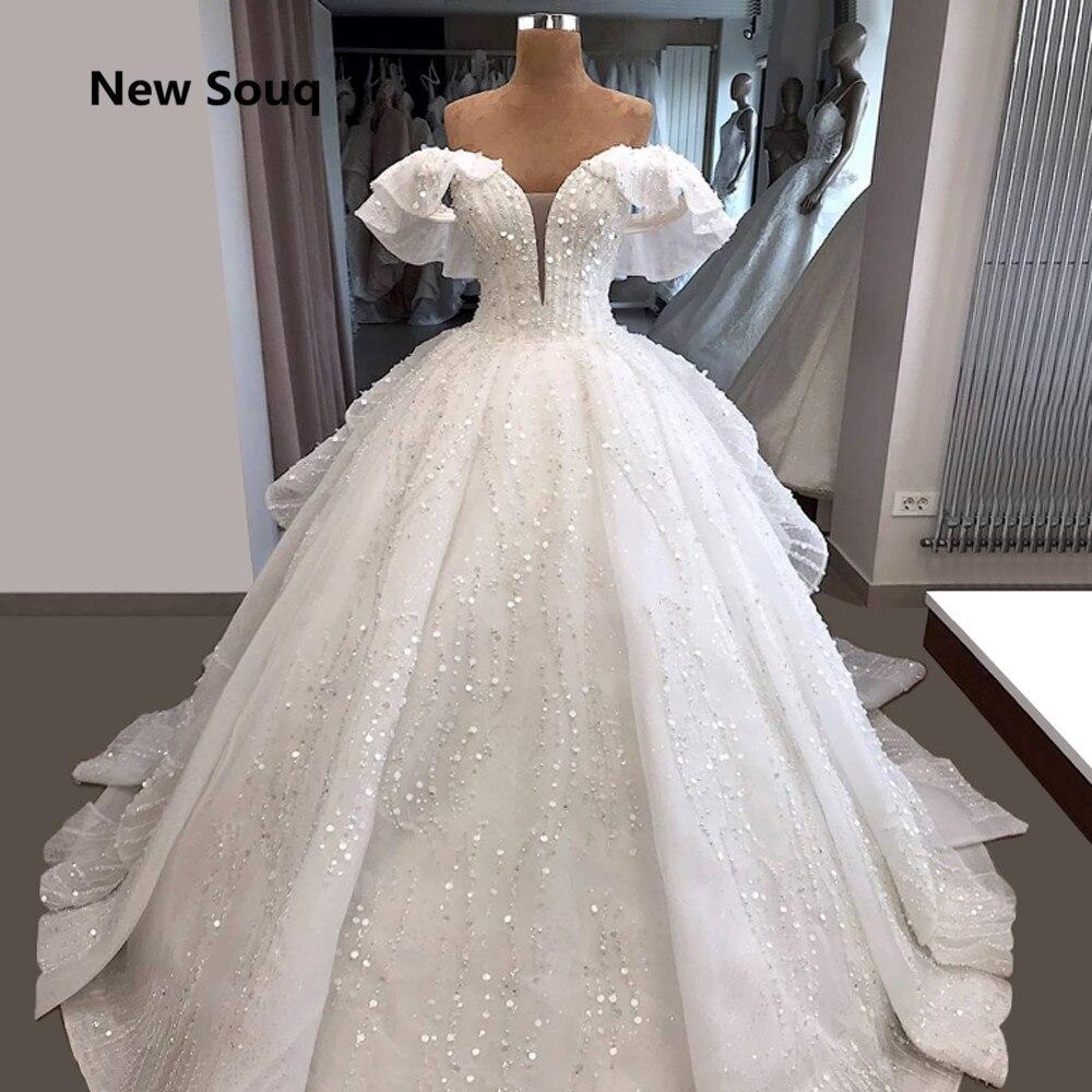 Gorgeous Ball Gown Wedding Dresses Illusion Deep V-neck Sweep Train Long Church Bridal Gowns Garden Wedding Dress Robe De Mariee