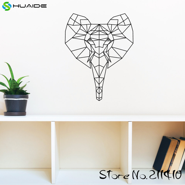 Geometric Elephant Wall Decal Sticker Creative Wall Art Home Decor Living  Room Removable Vinyl Wallpaper Mural Part 77