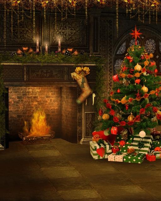 147 Vendimia Chimenea Media Foto Fondo Navidad Decoración Del árbol Para La Tela De La Foto Fotografía Telón De Fondo Para Estudio Foto En