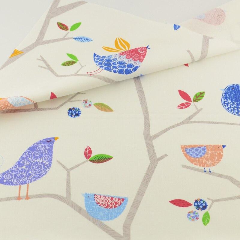Pájaros en el Árbol Tecido Tela de Algodón Tejido Textil Para El Hogar ropa de C