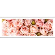 จิตรกรรมฝาผนังเต็มรูปแบบ 128x48 ซม.สีชมพู Rose รูปแบบตกแต่ง rhinestone โมเสคทำด้วยมือ,ดอกไม้,DIY เย็บปักถักร้อยเพชร