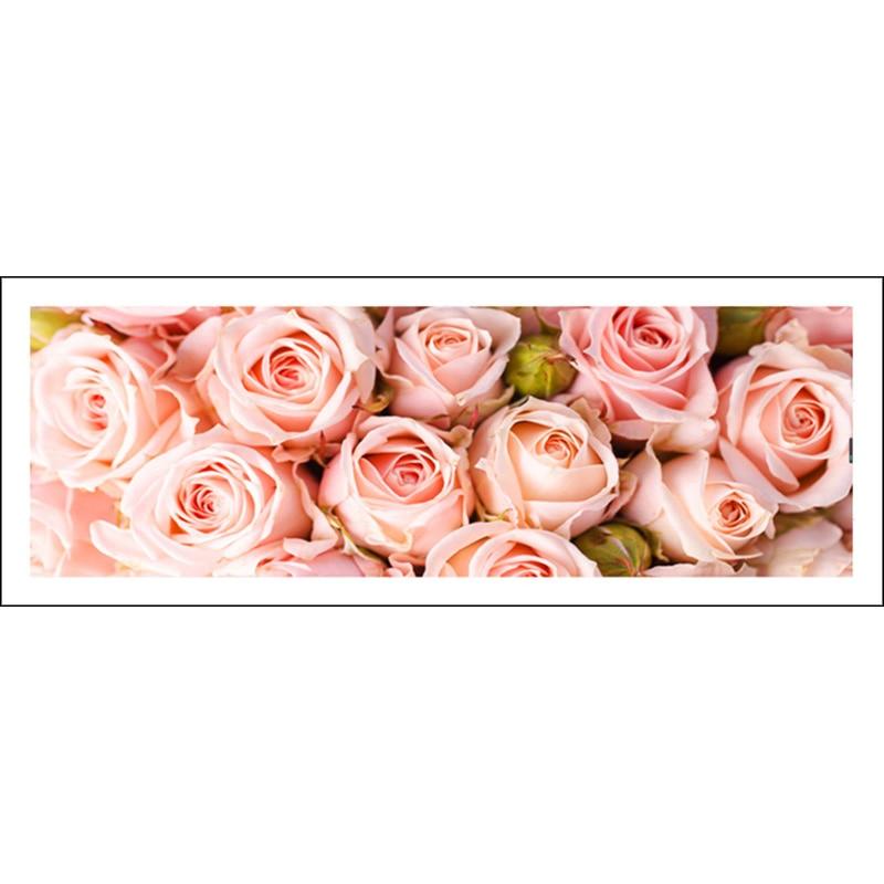 Full diamond painting 128x48cm Pink Rose pattern Decorative Painting rhinestone Handmade mosaic,flowers, Diy diamond embroidery