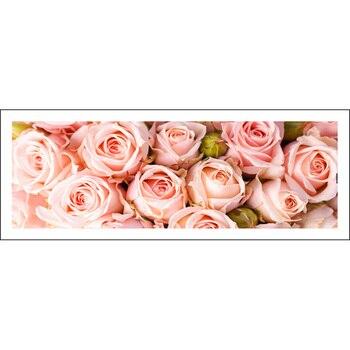 Pintura de diamantes completa 128x48cm rosa patrón decorativo pintura rhinestone Mosaico hecho a mano, flores, bordado de diamantes Diy