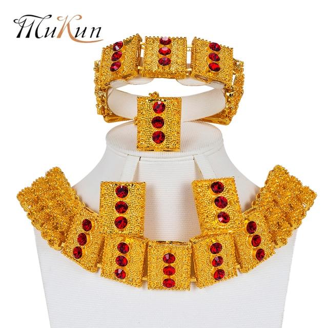 נשים ניגריה גדול קובע דובאי תכשיטי טורקיה MUKUN אביזרי חרוזים אפריקאים חתונת כלה סט תכשיטים בצבע זהב עיצוב
