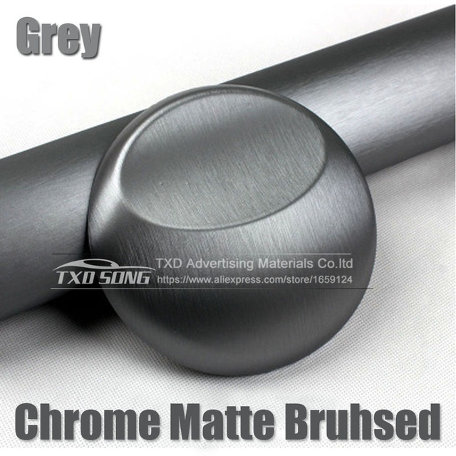 Premium grey matte chrome brushed metallic vinyl film sticker bubble free brushed metallic car wrapping grey