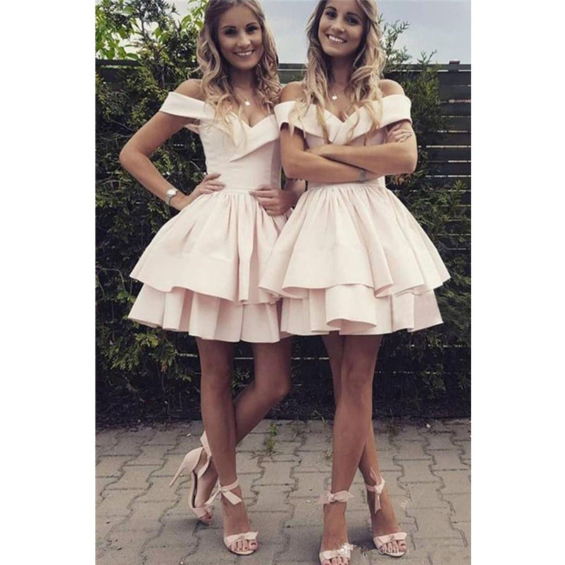 Elegant Short   Cocktail     dresses   Off the shoulder Tiered White Party Vestidos Homecoming   dresses   A line Pleated Ruffles Mini   dress