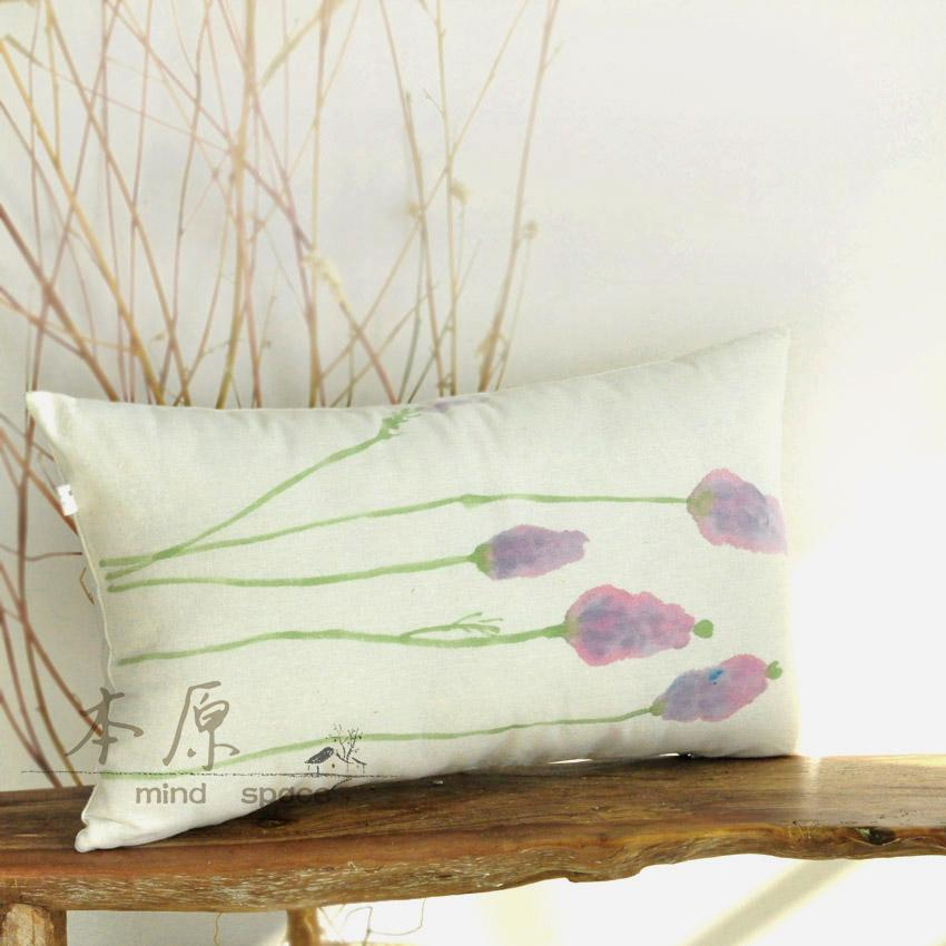 Primitive Hand Painted Linen Lavender Lumbar Pillow Cushion Containing Core Spring Garden