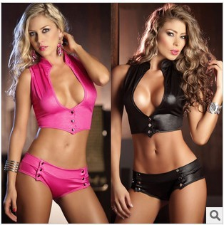 3fd75df579a8 Rose Red Black Pu 2 Piece Steel Tube Dance Sexy Party Night Game Clubwear  Open Bra Crop Tops Shorts Sets Women Costumes Uniform-in Women's Sets from  Women's ...