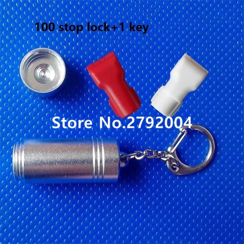 100pcs/lot+1pcs Magnetic Detacher Key EAS Anti-theft Stop Lock For Display Security Hook Stem&peg Stoplock