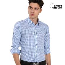 Fashion Blue Men's shirts High quality Long sleeves Male Shirts