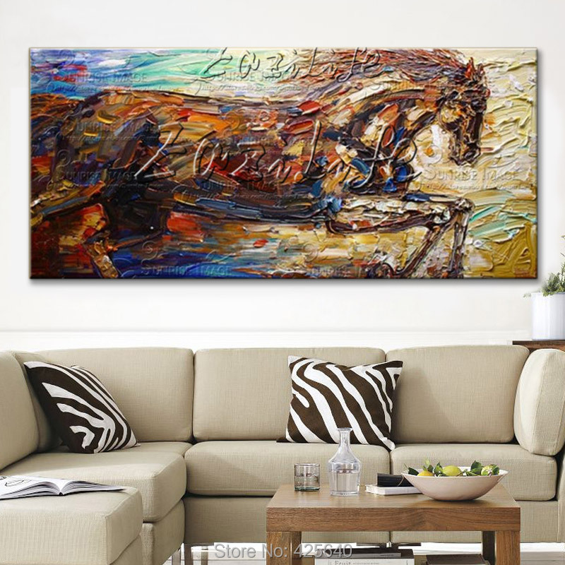 Horse Hand Painted Wall art pictures for living room Modern abstract canvas oil painting quadros cuadros Pop Art home decoracionHorse Hand Painted Wall art pictures for living room Modern abstract canvas oil painting quadros cuadros Pop Art home decoracion