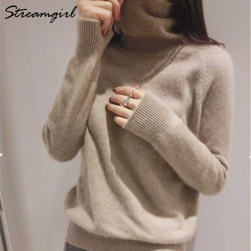 Streamgirl Winter Cashmere Sweater Women Sweaters And Pullovers Black  Turtleneck Women Cashmere Jumper Warm Thick Sweater 55e6fe4dc