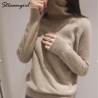 Streamgirl Winter Cashmere Sweater Women Sweaters And Pullovers Black Turtleneck Women Cashmere Jumper Warm Thick Sweater Female