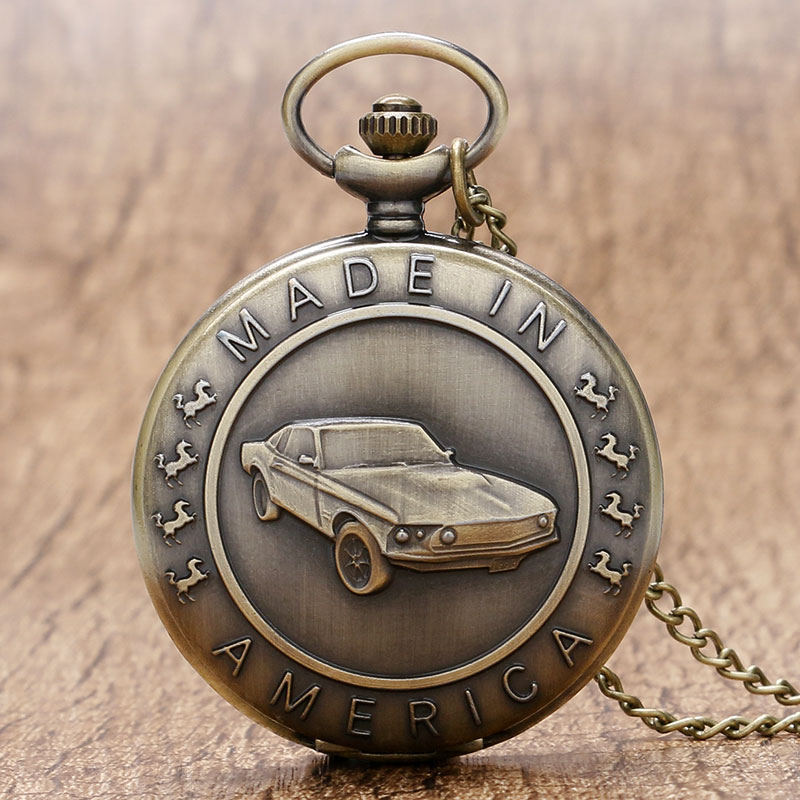 Antique Car Pocket Watch Classic Mustang Sedan Made In America Carving Pendant Chain Cool Men Clock Best Gifts For Boys Children