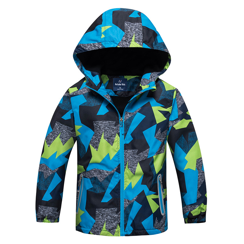 HUTUHU 2018 Spring Jacket Girls Boys Outdoor Sport Hiking Windbreaker Jackets Kids hoodie Double deck Windproof Waterproof