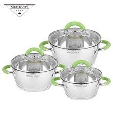 6 шт. Меркурий Haus Нержавеющая сталь кухонная кастрюля наборы посуды набор индукционной плиты кухонные наборы