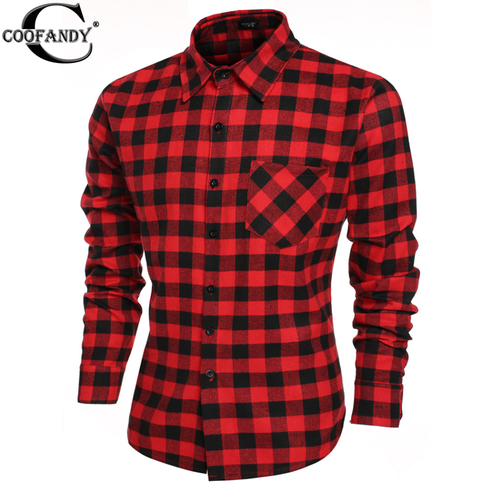 COOFANDY US size 2016 Fashion Men's Casual Long Sleeve Male Plaid Shirts Social Camisa Masculina W1