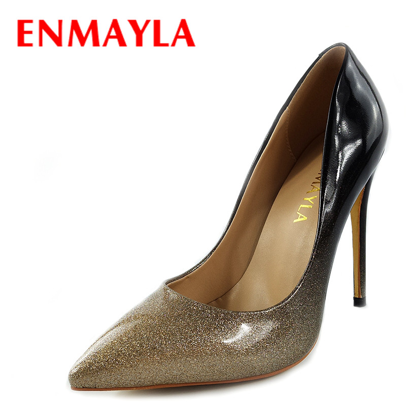 ENMAYLA Bing Mixed Colors Slip-on High Heels Shoes Women Pointed Toe Pumps Gray Red Stiletto Heels Wedding Shoes Woman beango 2018 new fashion women high heels pointed toe striped pumps mixed colors rivet stiletto party wedding shoes woman