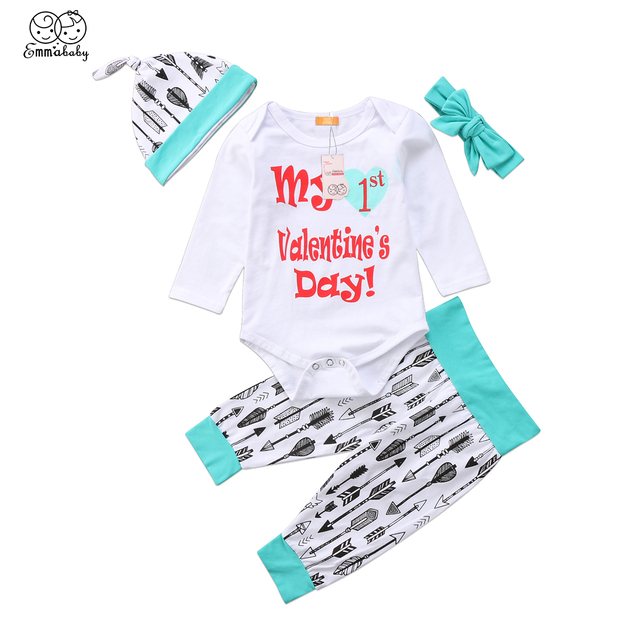 c967d05c496b Emmababy Baby Girl Boy My Ist Valentine Printed Romper Arrow Pant Headband  Hat Outfits Set Clothes 4 Pcs