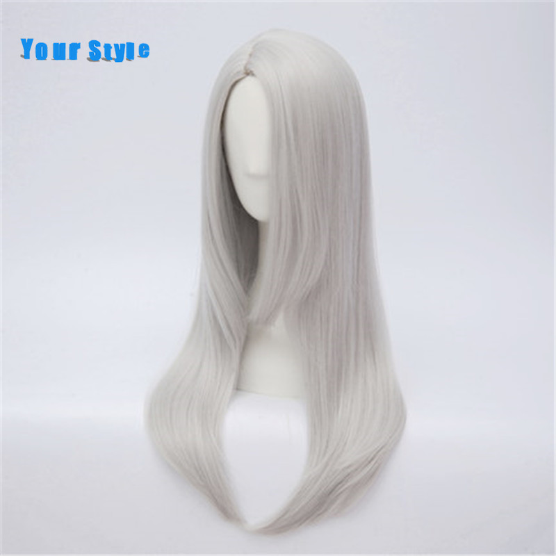 Your Style Long Straight Silver Cosplay Womens Wigs Female Natural Hair Synthetic Natural Hair High Temperature Fiber