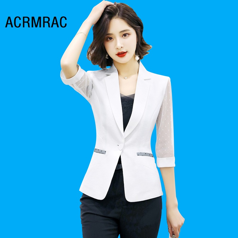 Women Jacket Slim Summer Mesh Stitching Solid Color Thin Half Sleeve Coat OL Formal Blazers Woman 995