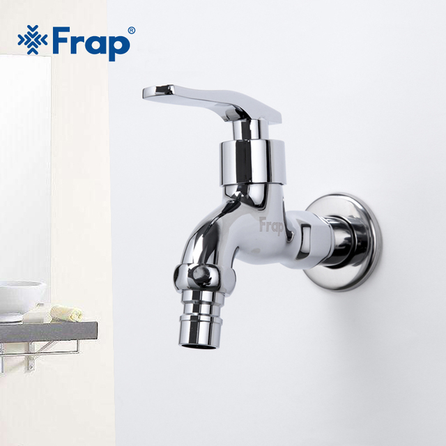 FRAP High quality Brass Copper Kitchen Faucet Quick Opening Single Cold Tap Washing Machine Crane F521 F522