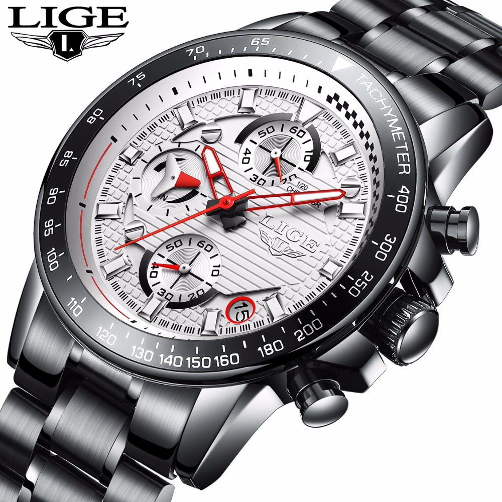 LIGE Men's Luxury Brand Full steel Quartz Watches Men Military Waterproof Wrist watch Man casual Fashion Clock relogio masculin цена и фото