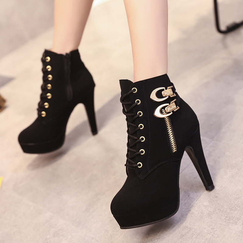 Image 2 - Plus Size Ankle Boots Women Platform High Heels Female Lace Up Shoes Woman Buckle Short Boot Casual Ladies Footwear Drop Ship-in Ankle Boots from Shoes