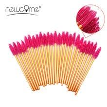 NEWCOME Golden Handle Brush False Eyelash Brush,Mascara Make Up Wand Disposable Brushes for 3D