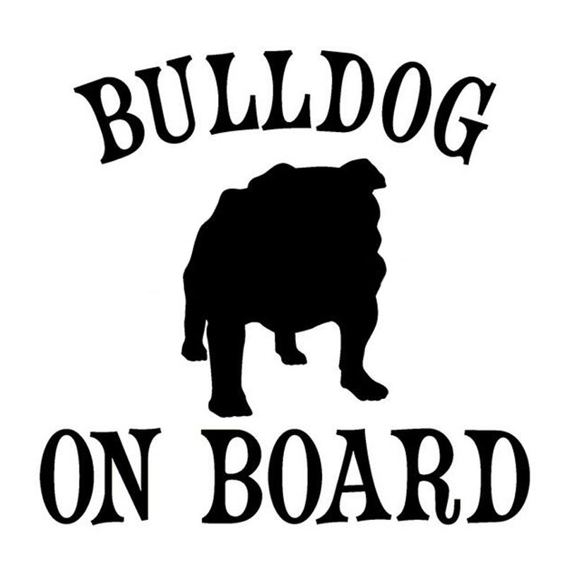 13*13CM BULLDOG ON BOARD Pet Dog Car Stickers Motorcycle Decals Car Styling Accessories Black/Silver C1-0146