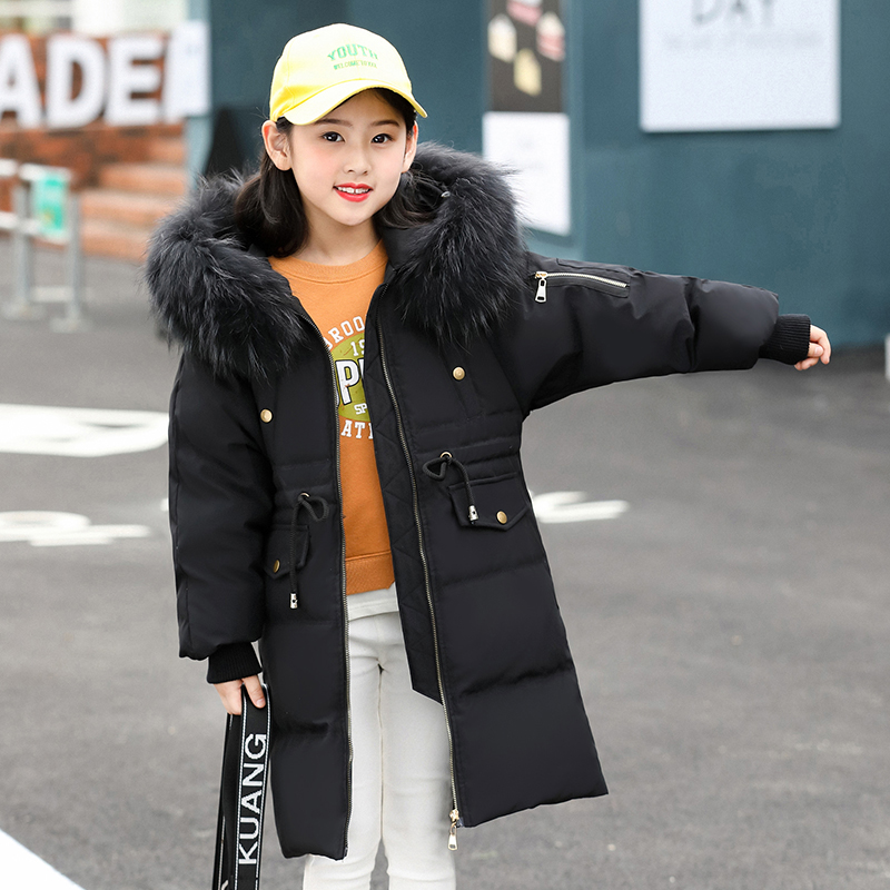 HSSCZL Girls duck down jacket 2018 Brand winter thicken children coat outerwear overcoat natural fur collar hooded fashion 5-14A 2013 winter brand fashion luxury natural white fox fur collar hood denim jacket duck down jacket women outerwear s m l xl d2124