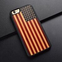 الأمريكية العلم تخصيص تصميم لون الطباعة منحوتة الخشب الأصلي الحالات الهاتف لآيفون 6 6 ثانية 7 8 زائد خشبية حالة