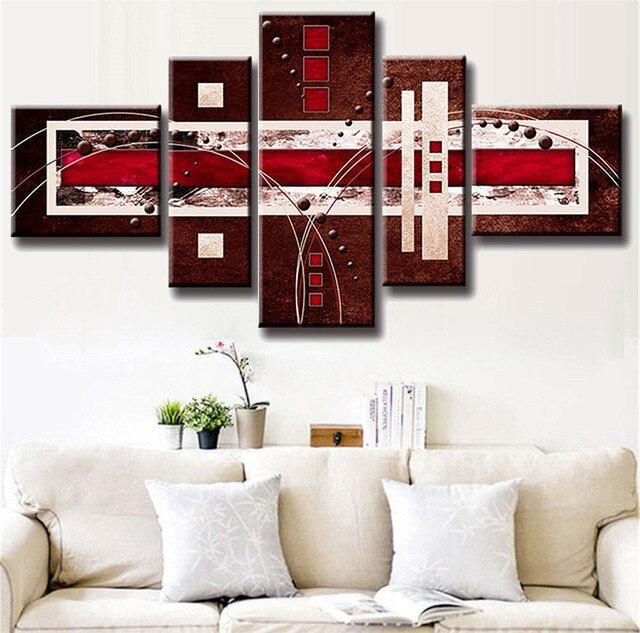 5 teile/satz Kombiniert Moderne Abstrakte Ölgemälde Braun Rot Creme ...