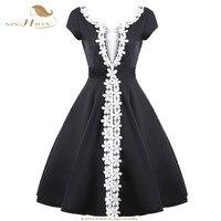 SISHION Elegant Black Dress Patchwork Designer Flower Decoration Big Swing 1950s 60s Hepburn Party Retro Vintage Dress