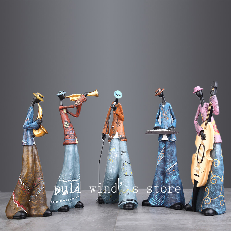 Creative Figure Art Music Rock Band Resin Statue Fun Retro Musician Home Decoration Saxophone Guitar Singer Sculpture