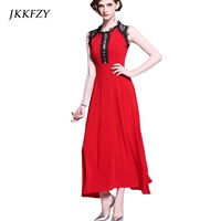 New Red Runway Long Dress Women Elegant Sleeveless Fashion Party Vestidos Female Office Lace Chiffion Dresses Clothes