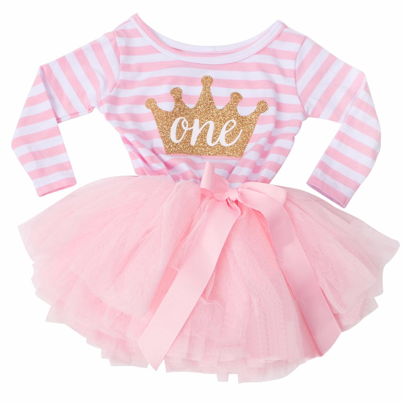 eef72f2e3 Little Girl Stripe Tutu Dress For Baby Kids First Birthday Party ...
