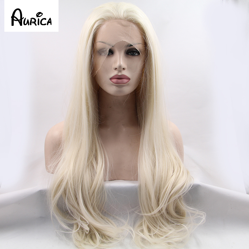 Fashion Long Natural Straight Blonde Synthetic Lace Front Wig Glueless Heat Resistant Hair Women Wigs New