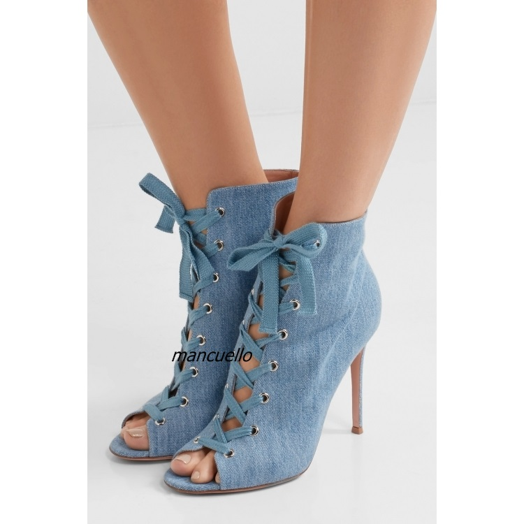 Trendy Blue Denim Peep Toe Sandals Women Jeans Lace Up Stiletto Heel Sandal Booties Fashion Summer Boots Hot Selling цена