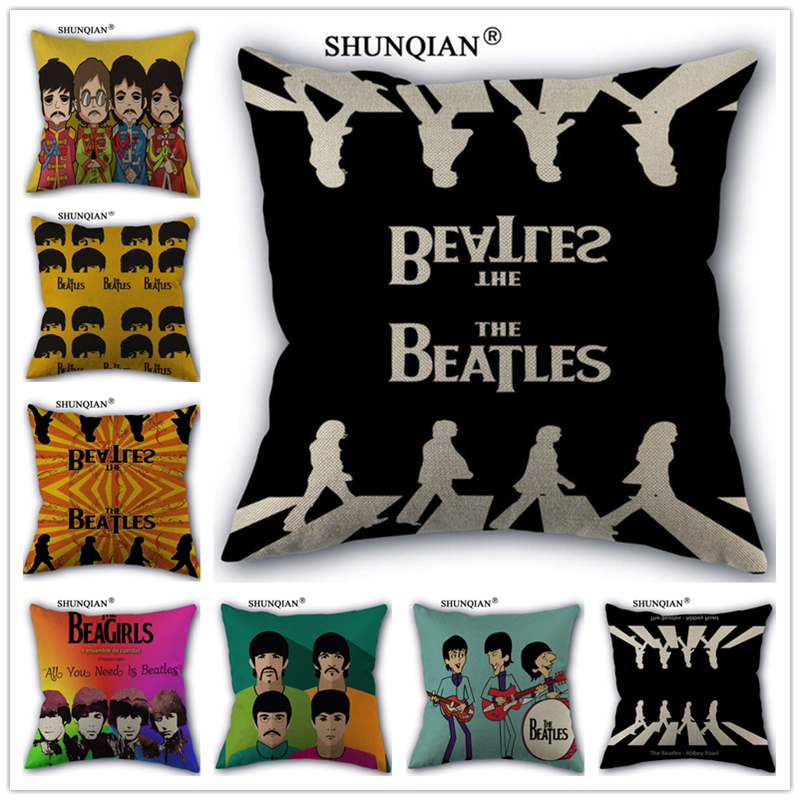 ShunXi DIY Company Store Linen Cotton The Beatles Pillow Cover Custom Print Home Decorative Pillows Cases 45x45cm one side WZ51613