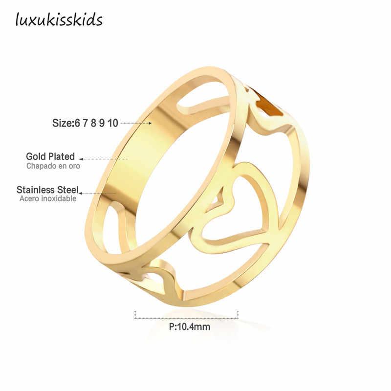 여자를위한 우아한 금 반지 세트 남자 316L 스테인리스 교전 결혼 보석 여자를위한 여자 반지 Ringen 선물